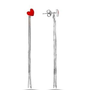 Red heart earrings with wt gold over sterling